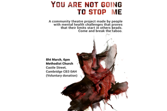 A poster for the community theatre project made by people with mental health challenges showing a drawing of a face with red