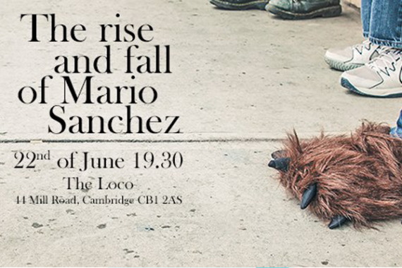 A colour photo of the pavement showing feet wearing a variety of different shoes including a person with hairy monster feet for the play The Rise and Fall of Mario Sanchez
